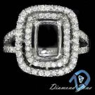 DIAMOND RADIANT EMERALD CUT SEMI-MOUNT SETTING ENGAGEMENT RING 14K 2 ROW HALO