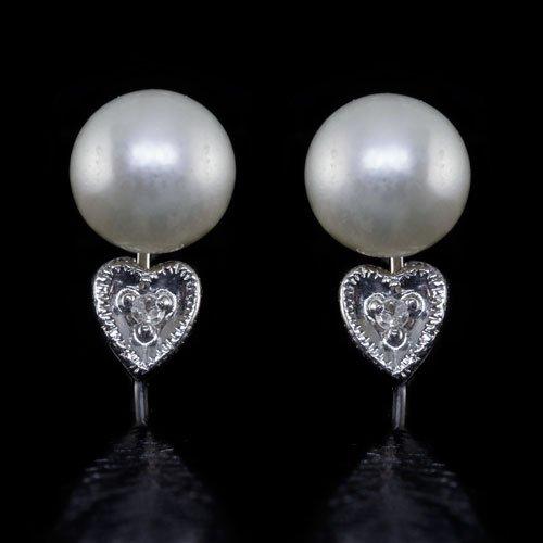 VINTAGE PEARL H SI DIAMOND EARRINGS NON-PIERCED HEART 14K WHITE GOLD RETRO CLIP