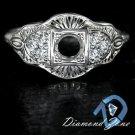 VINTAGE SEMI MOUNT 4MM SETTING 1/4ct DIAMOND F VS ART DECO STLE DESIGN RING