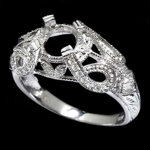VINTAGE SETTING DIAMOND ART DECO SWIRL DESIGN SEMI-MOUNT ENGAGEMENT RING 14K WG