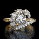 H VS VINTAGE DIAMOND COCKTAIL RING 1/2 CARAT 14K YELLOW GOLD RETRO MIDCENTURY