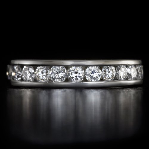 1 CARAT IDEAL CUT DIAMOND PLATINUM WEDDING BAND COCKTAIL RING 7 GRAMS STACKABLE