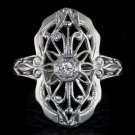 1900s VINTAGE DIAMOND FILIGREE COCKTAIL RING ART DECO NOUVEAU ANTIQUE WHITE GOLD