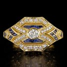 ART DECO DIAMOND RING FRENCH CUT BLUE SAPPHIRE VINTAGE OLD EURO 18K YELLOW GOLD