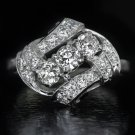 1ct VINTAGE BYPASS OLD EURO CUT DIAMOND H VS RETRO COCKTAIL RING PLATINUM 7 GM