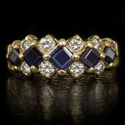 1CT ROYAL BLUE SAPPHIRE NATUIRAL 1/2c ROUND DIAMOND COCKTAIL RING YELLOW GOLD 14