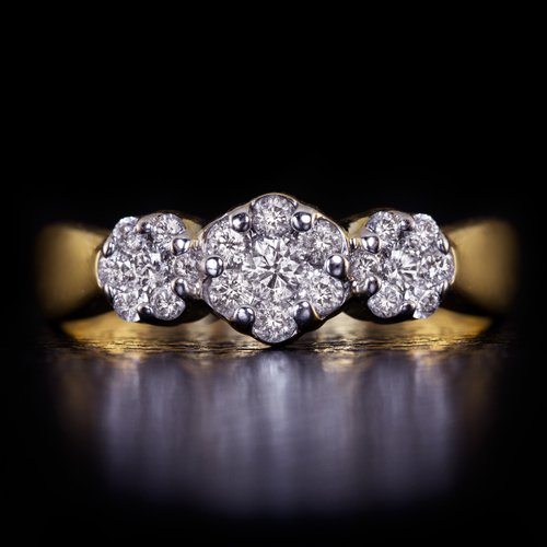 IDEAL CUT 1/2 CARAT ROUND DIAMOND 3 STONE COCKTAIL RING 14K YELLOW GOLD 0.50ct