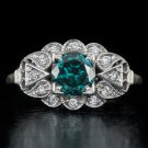 VINTAGE 1.12ct FANCY BLUE DIAMOND ROUND ART DECO FLORAL COCKTAIL RING WHITE GOLD