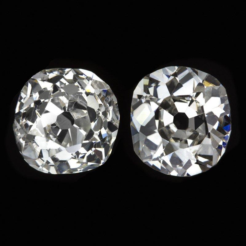 1.69ct ANTIQUE OLD MINE CUSHION CUT DIAMOND STUD EARRINGS MATCHING PAIR VINTAGE