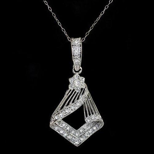VINTAGE ART DECO DIAMOND PENDANT GEOMETRIC NECKLACE ANTIQUE WHITE GOLD 18K CHAIN