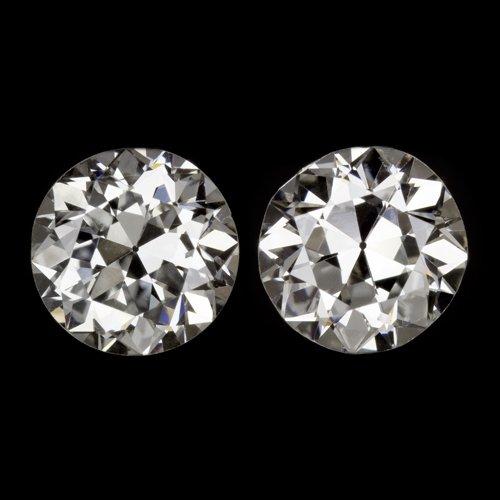 3/4ct ART DECO G-H VS OLD EUROPEAN CUT DIAMOND VINTAGE STUD EARRINGS PAIR ROUND