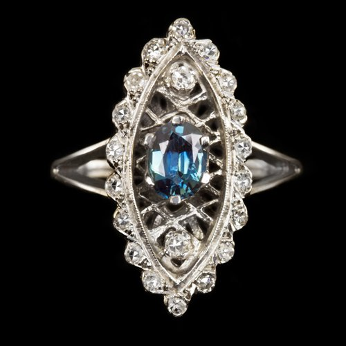 VINTAGE 1 CARAT BLUE SAPPHIRE 0.4ct ROUND DIAMONDS COCKTAIL RING LARGE MARQUISE