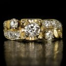 1910 ORG VINTAGE H VS1 0.90ct OLD EURO CUT DIAMOND ENGAGEMENT COCKTAIL RING 14K