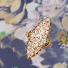 2.00ct VICTORIAN 1900 VINTAGE OLD MINE CUT DIAMOND ANTIQUE NAVETTE COCKTAIL RING