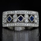 VINTAGE BAND F VS ROUND DIAMOND BLUE SAPPHIRE COCKTAIL RING 7 GRAMS 14K W GOLD