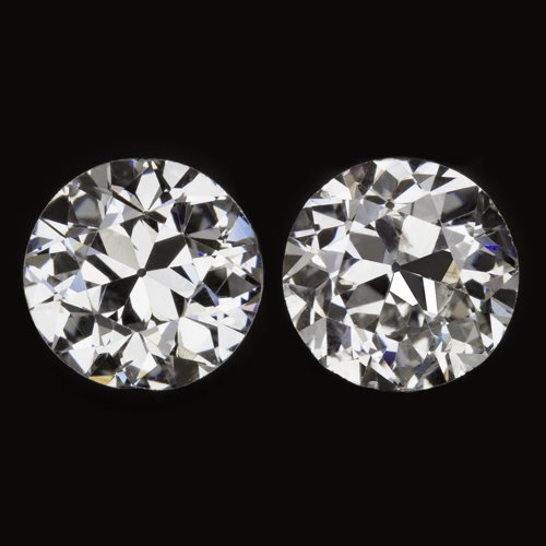 VINTAGE 0.80ct F COLOR OLD EUROPEAN CUT DIAMOND LOOSE STUD EARRING ROUND ANTIQUE