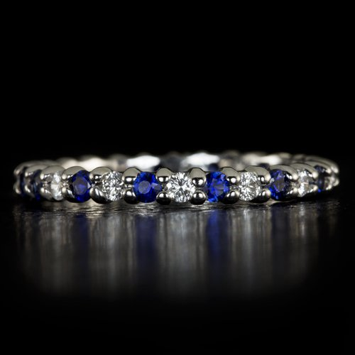 1/2ct DIAMONDS 3/4ct NATURAL BLUE SAPPHIRES ETERNITY WEDDING BAND COCKTAIL RING