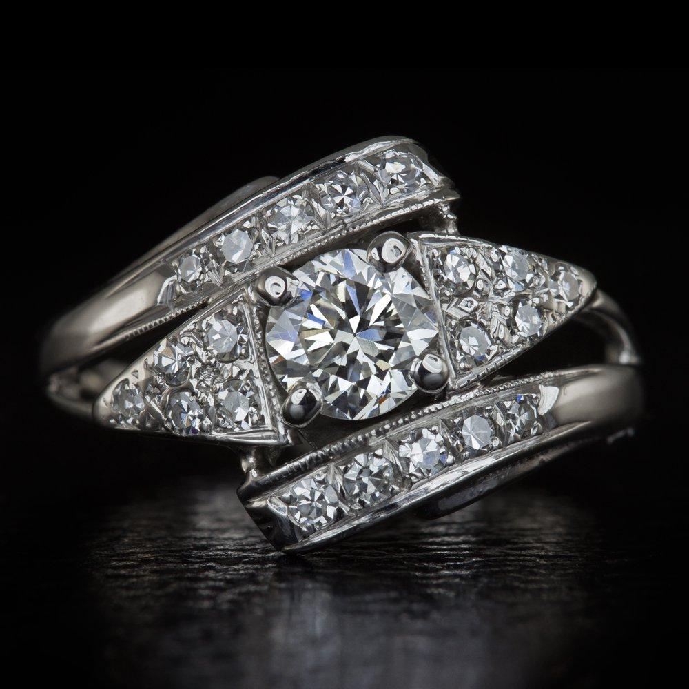 RARE VINTAGE ROUND DIAMOND ENGAGEMENT RING 1/2c G VS 0.83ctw COCKTAIL WHITE GOLD