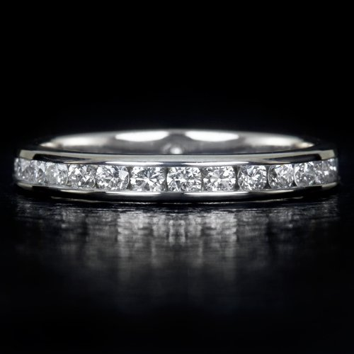 3/4 CARAT ROUND DIAMOND ETERNITY WEDDING BAND STACKING COCKTAIL RING 14K W GOLD