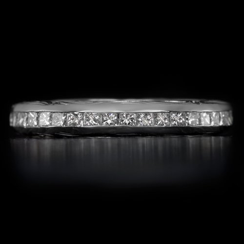 PRINCESS CUT DIAMOND WEDDING BAND STACKING RING 1/2 ETERNITY WHITE GOLD VINTAGE