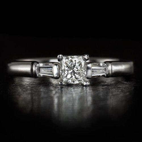1/2ct NATURAL 3 STONE PRINCESS BAGUETTE CUT DIAMOND ENGAGEMENT RING COCKTAIL 14K
