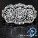 1.25ct DIAMOND 3 STONE ILLUSION SET DESIGNER 2 BAND COCKTAIL ENGAGEMENT RING 14K