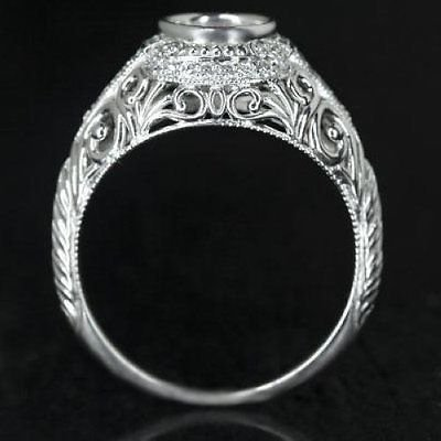 ART DECO ENGAGEMENT MOUNTAING ROUND BEZEL SET 6MM VINTAGE SETTING DIAMOND RING