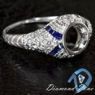 ENGRAVED SEMI MOUNT DIAMOND BLUE SAPPHIRE ART DECO SETTING BEZEL ENGAGEMENT RING