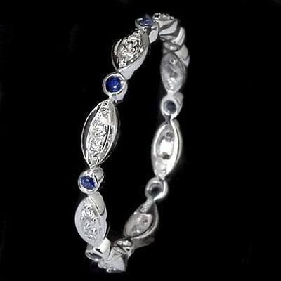 BLUE SAPPHIRE DIAMOND RING 14K WHITE GOLD DAINTY WEDDING BAND ETERNITY RING THIN