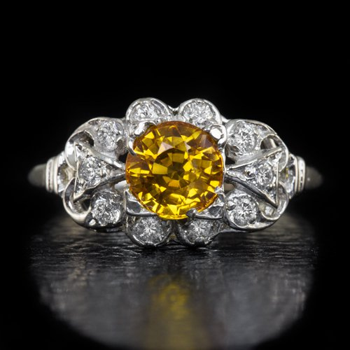VINTAGE DIAMOND 1.27ct NATURAL YELLOW ORANGE SAPPHIRE COCKTAIL RING WHITE GOLD