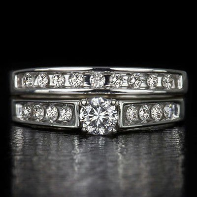 1/2ct ROUND BRILLIANT DIAMOND WEDDING BAND ENGAGEMENT RING SET 14K WHITE GOLD