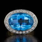 EX CUT G-H VS DIAMOND HALO 8ct BLUE TOPAZ COCKTAIL RING 18K WHITE GOLD 12 GRAMS