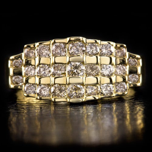FANCY CHAMPAGNE ROUND NATURAL DIAMONDS COCKTAIL RING STATEMENT 14K YELLOW GOLD