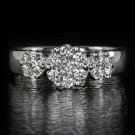 3/4ct ROUND DIAMOND F COLOR 3 STONE COCKTAIL ENGAGEMENT RING 14K WHITE GOLD REAL