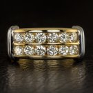 1.18ct TRIPLE EXCELLENT IDEAL CUT ROUND DIAMOND COCKTAIL RING WEDDING BAND GOLD