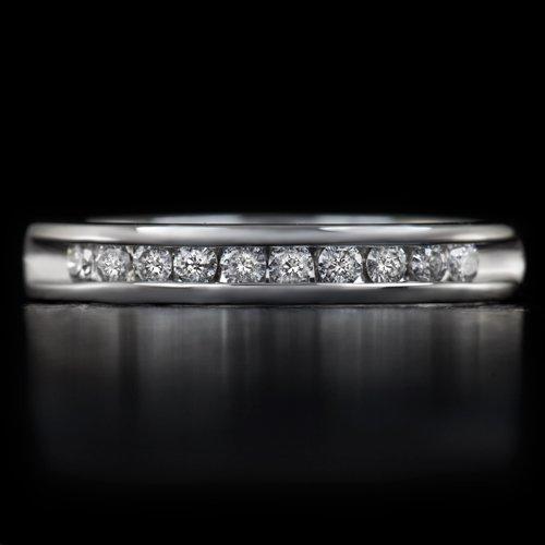 IDEAL CUT ROUND BRILLIANT DIAMOND WEDDING BAND RING 14K WHITE GOLD CHANNEL SET