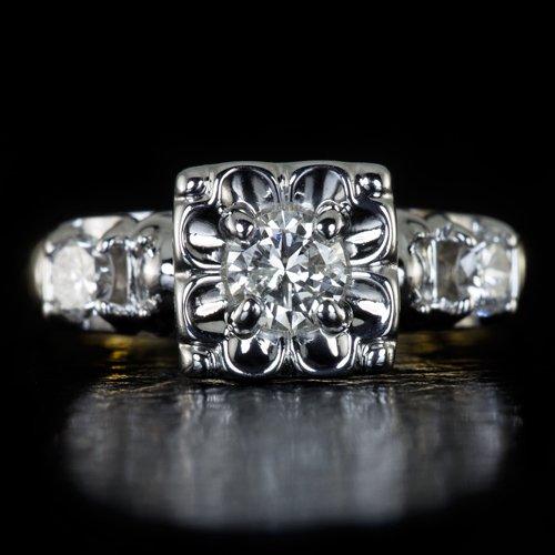 VINTAGE ROUND DIAMOND 3 STONE ENGAGEMENT RING RETRO 14K GOLD COCKTAIL ART DECO