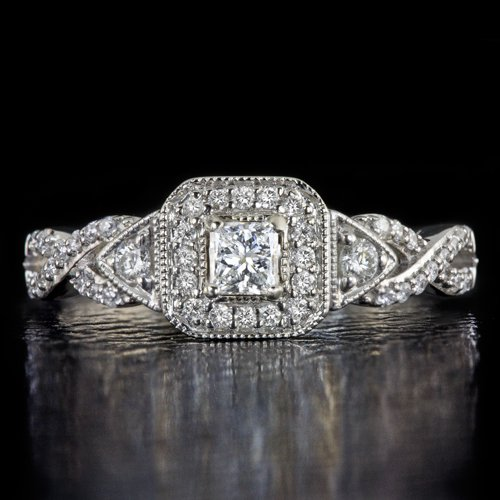 IDEAL CUT PRINCESS DIAMOND HALO ENGAGEMENT RING 14K WHITE GOLD INFINITY FILIGREE