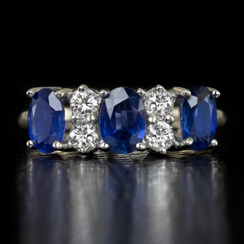 IDEAL CUT G VS ROUND DIAMONDS 2.5ct NATURAL  SAPPHIRES COCKTAIL RING WHITE GOLD