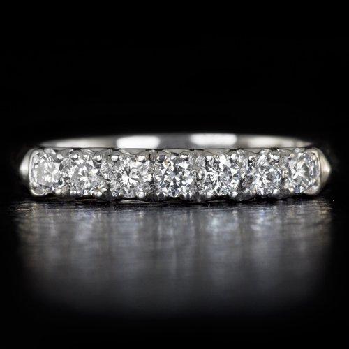 VINTAGE F-H VS ROUND DIAMOND PLATINUM WEDDING BAND 7 STONE COCKTAIL RING RETRO