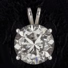 NATURAL 7.5 CARAT ROUND DIAMOND PENDANT CERTIFIED NECKLACE 12mm  BIG SOLITAIRE
