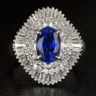 5 CARATS NATURAL ROYAL SAPPHIRE DIAMOND VINTAGE PLATINUM BALLERINA COCKTAIL RING