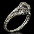VINTAGE G VS DIAMOND PLATINUM ENGAGEMENT RING SETTING SEMI MOUNT ROUND FILIGREE