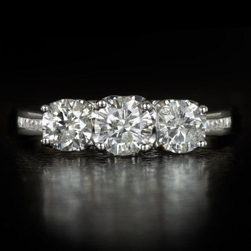 1.50ct ROUND NATURAL DIAMOND F COLOR THREE STONE ENGAGEMENT RING WHITE GOLD