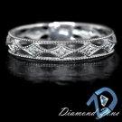 VINTAGE DIAMOND ART DECO WEDDING BAND THIN DAINTY RING MILGRAIN ETERNITY 14K