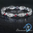 NATURAL DIAMOND VIBRANT RED RUBY 14K WG ETERNITY STACK BAND VINTAGE DAINTY RING