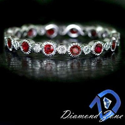 RUBY RED NATURAL WHITE DIAMOND ETERNITY BAND 14K WG COCKTAIL RING VINTAGE STYLE