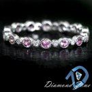 PINK SAPPHIRE NATURAL DIAMOND ROUND ETERNITY 14K WG BAND MILGRAIN DAINTY RING 8