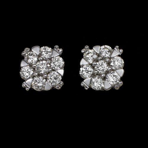 IDEAL CUT 1/2 CARAT H-I VS ROUND DIAMOND STUD EARRINGS 14K WHITE GOLD 0.50ct