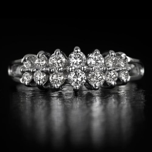 0.36C NATURAL DIAMOND ROUND G SI CLUSTER COCKTAIL RING LADYS BAND 14K WHITE GOLD